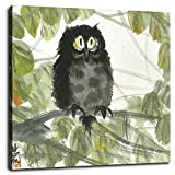 LinFengmian Canvas Prints Owl Oil Painting Poster Wall Art For Home Office Decorations With Framed 16'x16'