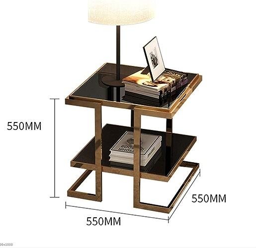 NAN Moderne Minimaliste Coin Salon Côté canapé Table d'appoint en Verre Petite Table Basse lumière Petit carré Table Côté Armoire (Couleur   Noir)