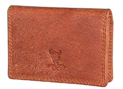 Matador Visitenkarten Etuis Leder Braun mit RFID Schutz Kredikartenetui Visitenkartenhalter (Konjak Braun)