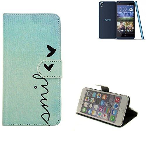 K-S-Trade Schutzhülle Für HTC Desire 626G Dual SIM Hülle Wallet Case Flip Cover Tasche Bookstyle Etui Handyhülle ''Smile'' Türkis Standfunktion Kameraschutz (1Stk)