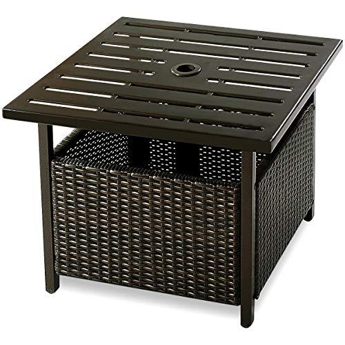 CASART. Patio Rattan Wicker Umbrella Side Table with Umbrella Hole, Steel Outdoor Deck Garden Pool Umbrella Side Table, Brown