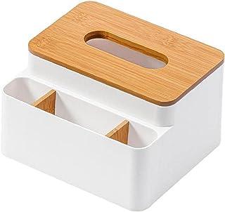 Porte-feuille Boîte de rangement de bureau serviette distributeur Organisateur bambou couvercle Container blanc, Cuisine G...