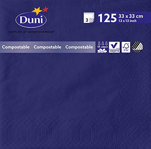 Duni 2622 3 plis Serviettes en papier, 33 cm x 33 cm, Bleu foncé (lot de 1000)