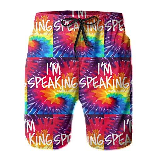 Beach Shorts Calção de banho masculino com citação I'm Speaking Kamala Harris Vice President Debate, Branco, XXL