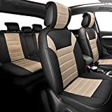 FH GROUP Universal Fit Complete Set Car Seat Cushion Pad - Cloth (Beige)