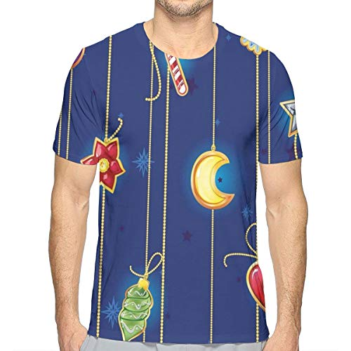 3D Printed T Shirts,Cute Celebratory Object On Stripes Star Moon Candy Flower Xmas Theme Illustration,Mens Casual Short Sleeve Fashion Summer T-Shirt,Size:S