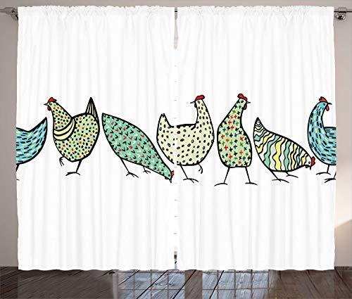 ABAKUHAUS Hähnchen Rustikaler Gardine, Bauernhof Hen mit Verzierungen, Schlafzimmer Kräuselband Vorhang mit Schlaufen und Haken, 280 x 175 cm, Hellgrün und Weiß