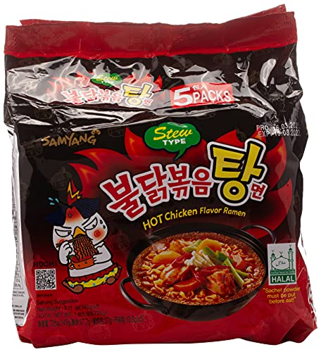SAMYANG Stew Type Hot Chicken Flavor Ramen Noodles, Pack of...