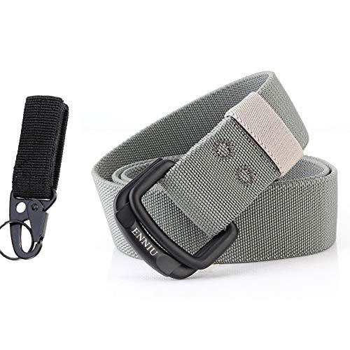 CHOUBAGUAI Gürtel Militärgürtel für Herren, elastisches Nylon, Taktische Gürtel für Jeans, Hosen, Solider Gurt, Leinen, Doppelring, Metallschnalle, Taillengürtel, Hellgraue Übereinstimmung