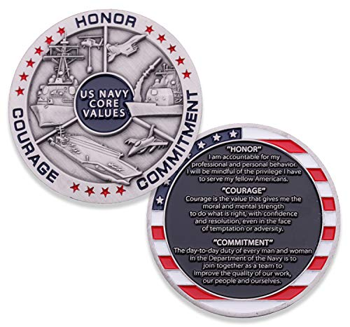 Navy Core Values Challenge Coin - United States Navy Challenge Coin - Amazing USN Navy Military Coin - Designed by Military Veterans!