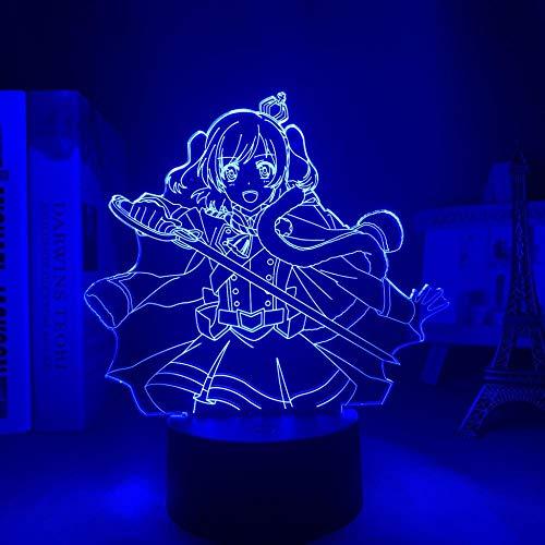 3D anime noche luz LED Revue Starlight para decoración de dormitorio regalo de cumpleaños manga Gadget Revue Starlight Aijo Karen lámpara -7 colores, control táctil