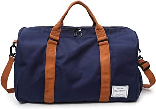 Hamkaw Large Capacity Multi Pocket Sports Duffel Bag with Shoes Compartment for Women and Men (Blue)