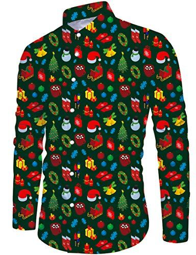 Loveternal Men Casual Christmas Shirts Funky 3D Printed Dress Shirts Long Sleeve T-Shirt Button Down Slim Fit Xmas Green Blouse M