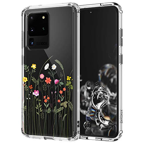 MOSNOVO Galaxy S20 Ultra Case, Wildflower Clear Design Pattern Printed Transparent Plastic Hard Back Case with TPU Bumper Protective Case Cover for Samsung Galaxy S20 Ultra