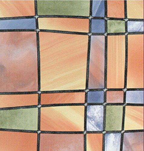 gekkofix Bunte Fensterfolie Barcelona 0,675 x 2m Glasdekorfolie Bleiglas Look selbstklebend Adhesive