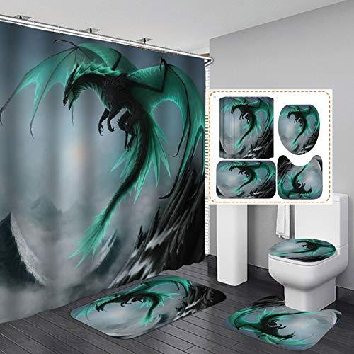 Fashion_Man 4PCS/Set Fantasy Green Dragon Shower Curtain, Magic Powerful Brave Dragon Medieval Mythology Cool Men Bathroom Decor, Waterproof Fabric Bath Curtain Non-slip Bath Rugs Toilet Carpet, Green