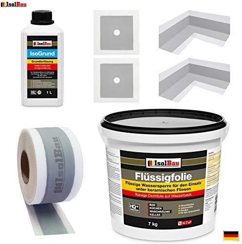 Dichtset für Badabdichtung Dusche Flüssigfolie Dichtfolie 7kg Dichtband Isogrund ISO