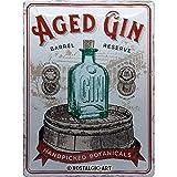 Nostalgic-Art Targhe Vintage Aged Gin Barrel – Idea Regalo per Amanti dei Cocktail, in Metallo, Design Retro per Decorazione, 30 x 40 cm