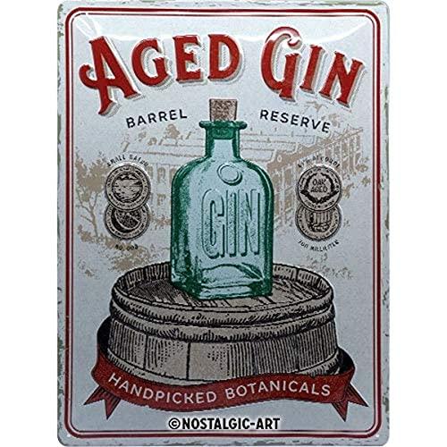 Nostalgic-Art Retro Blechschild Open Bar – Aged Gin Barrel – Geschenk-Idee für Cocktail-Fans, aus Metall, Vintage-Design zur Dekoration, 30 x 40 cm