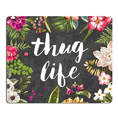 Floral Mouse Pad Thug Life Flowers Mousepad Office Space Decor Home Office Computer Accessories Mousepads Watercolor Vintage Flower Design Gaming Mouse Pad