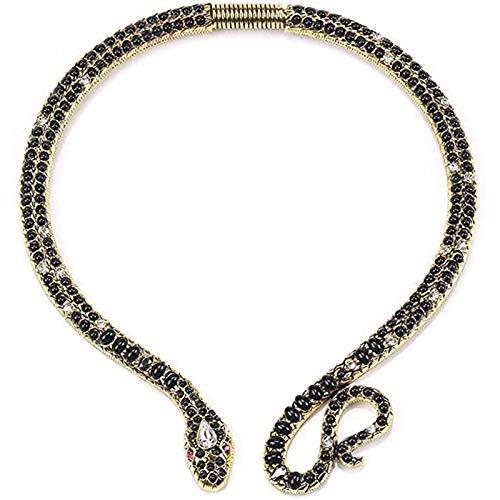 Cestbon Moda de la Personalidad Vector Collar de la aleación de Diamante Cadena Corta clavícula joyería Collar Serpiente,Negro