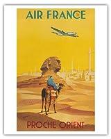 近東 - エアフランス - ロッキードコンステレーションは、スフィンクスを飛びます - ビンテージな航空会社のポスター によって作成された ヴィンセント・グエラ c.1948 - アートポスター - 41cm x 51cm
