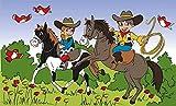 Fanshop Lünen Fahne Flagge Cowboy Cowboykinder Cowboys - 90x150 cm Hissfahne mit Ösen Hißflagge Kinder Kids Lasso Pferde Vögel