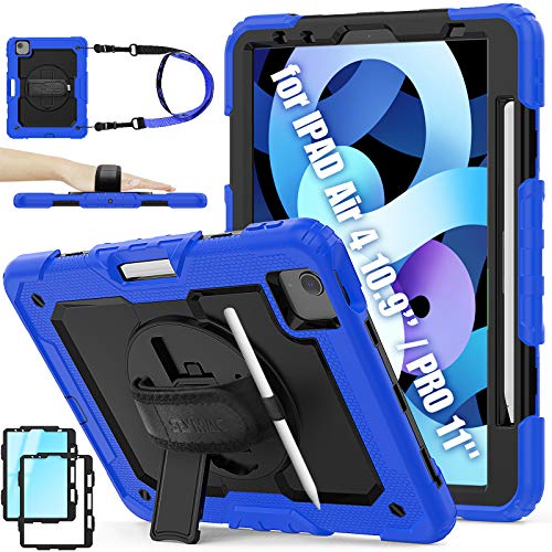 SEYMAC Stock iPad Air 4 Case 2020 10.9 Inch, Heavy Duty Full Body Protective Case with [360 Rotating Stand/Hand Strap] Pencil Holder and Screen Protector for iPad Air 4th Generation 2020(Deepblue)