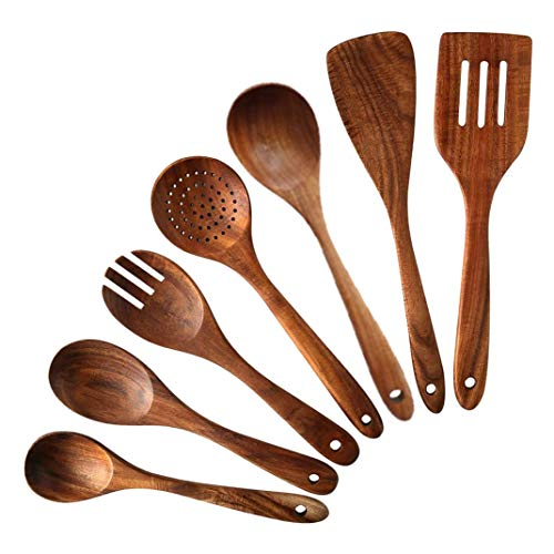 Dasorende 7 PCS Teak Wooden Kitchen Cooking Utensils, Non-Stick Spoons and Spatula Cookware for Home and Kitchen
