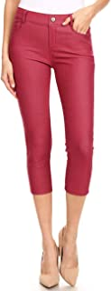 Women's 5 Pocket Capri Jeggings - Pull On Skinny Stretch Colored Jean Leggings with Plus Size Options