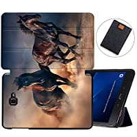 MAITTAO Galaxy Tab A 10.1 Case Model SM-T580 T585 T587, Slim Folio Shell Case Stand Cover for Samsung Galaxy Tab A 10.1 Inch 2016 Release & Tablet Sleeve Bag 2 in 1 Bundle, Akhal-Teke Horse 14
