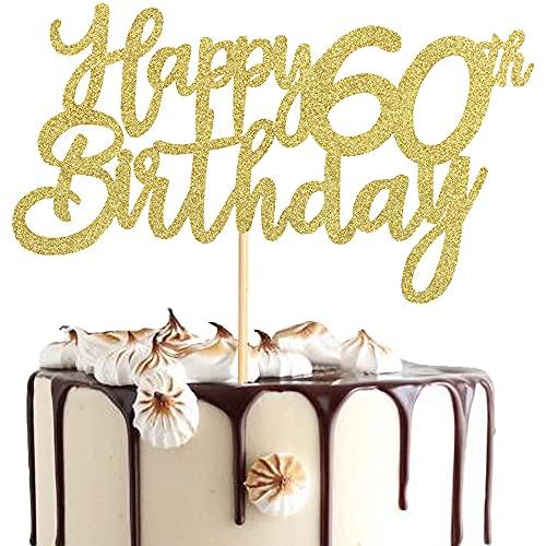 Happy Birthday 60th Cake Topper, decoración de cumpleaños para mujer, hombre, 60 años, purpurina, feliz cumpleaños, cupcake Toppers para decoración de tartas 60 cumpleaños fiesta
