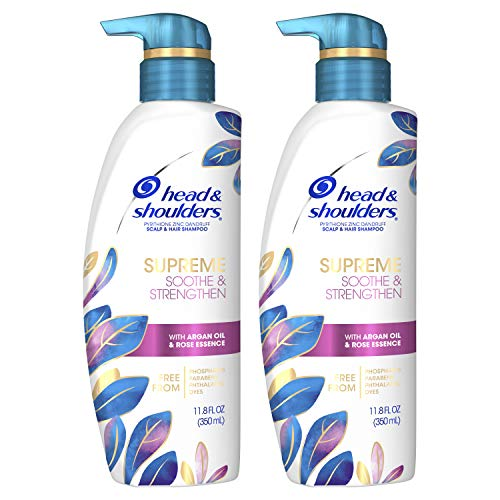 Head & Shoulders Supreme, Scalp Care and Dandruff Treatment Shampoo, with Argan Oil and Rose Essence, Soothe and Strengthen Hair and Scalp, 11.8 Fl Oz Twin Pack