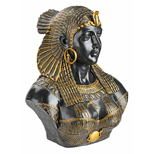 Design Toscano WU71550 Busto Scultoreo Neoclassico Regina Cleopatra, Nero, 35.5x45.5x53.5 cm