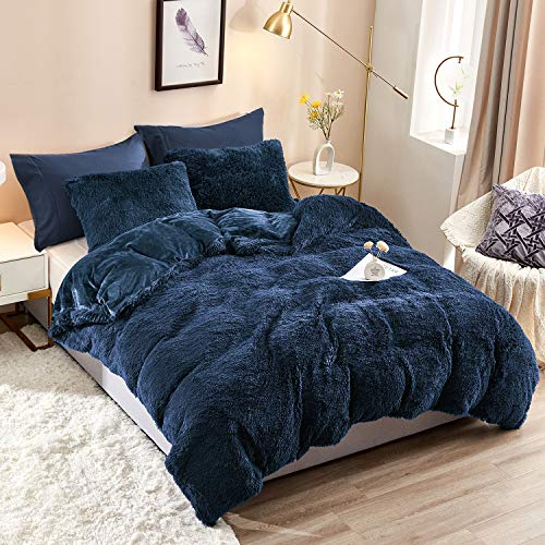 HAOK Plush Shaggy Duvet Cover Set - 5 Pieces Faux Fur Fluffy Bed Sets (1 Shaggy Duvet Cover + 2 Shaggy Pillow Shams + 2 Pillowcases), Crystal Velvet Fuzzy Comforter Cover Bedding Sets(Queen, Navy)