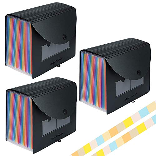 Accordian File Organizer 3 Pack,Expanding Filing Box 24 Pockets with Cover, Expandable Plastic File Folders Accordion Document Organizer A4 Letter Size,Rainbow Desktop Files Folder with 6 Labels
