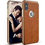 LOHASIC iPhone X Case, iPhone Xs Case Slim Leather Luxury PU Soft Flexible Bumper Defender Non-Slip Grip Anti-Scratch Shockproof Protective Cover Cases Compatible with iPhone X 10 Xs 5.8 inch (Brown)