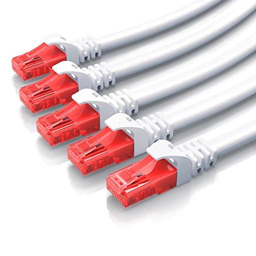 CSL - 5 x 0,25m CAT.6 Ethernet Gigabit LAN Netzwerkkabel RJ45-10 100 1000Mbit s - Patchkabel - kompatibel zu CAT.5 CAT.5e CAT.7 - Switch Router Modem Patchpannel Access Point