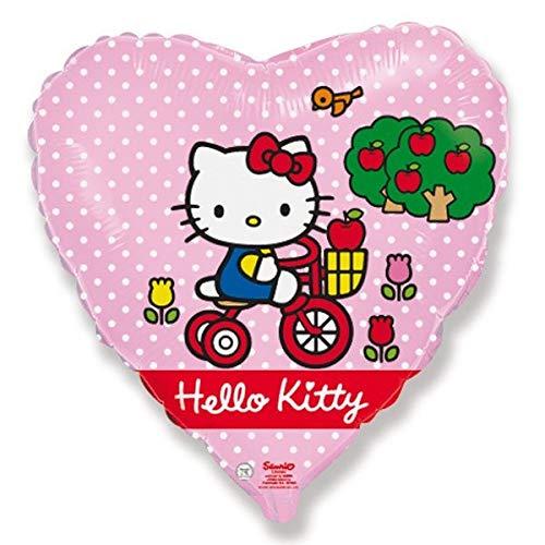 Prezer Hello Kitty mit Fahrrad Folienballon Herzform Heliumballon 45cm