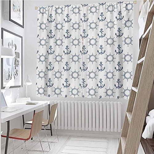 Toopeek - Cortina de aislamiento térmico con volantes y anclas, diseño marítimo para sala de estar o dormitorio, 100 x 163 pulgadas, color azul marino y blanco