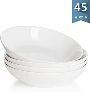 Sweese 113.101 Porcelain Large Salad Pasta Bowls - 45 Ounce 1.3 Quart - Set of 4, White