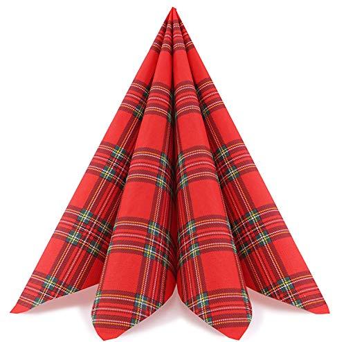 20 Stück Papierservietten Scotland 40 x 40 cm kariert Rot Grün Tissue Karo Servietten 3- lagig Tischdekoration Dinner Schottenkaro Tartan Winter Weihnachten
