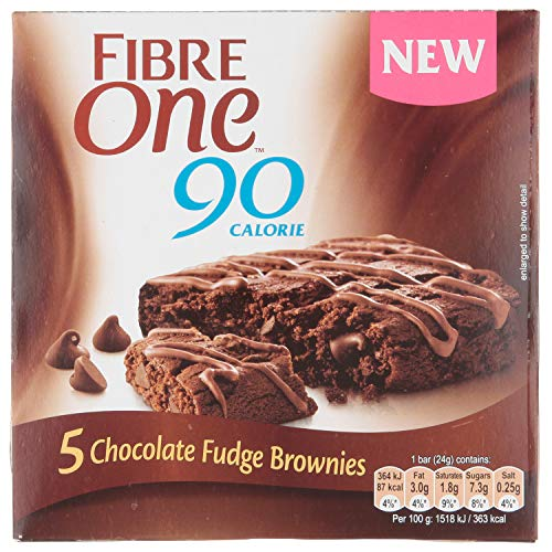 Fibre One 90 Calorie Chocolate Fudge Brownies 24g (Pack of 25 bars) (5 packs of 5 bars)