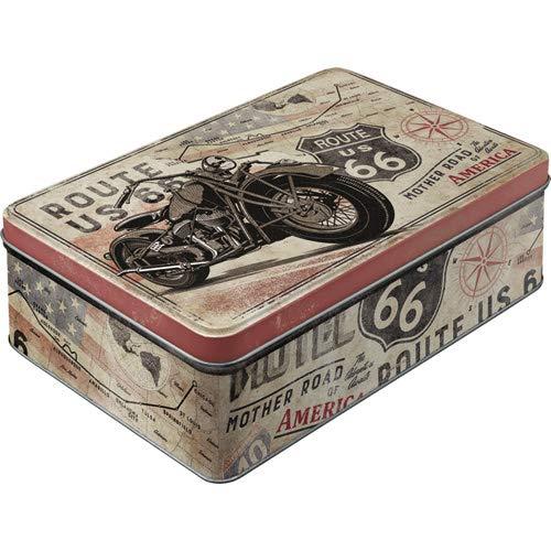 Nostalgic-Art 30752 Retro Vorratsdose flach Route 66 – Bike Map – Geschenk-Idee für Biker & Motorrad-Fans, Blech-Dose mit Deckel, Vintage Design