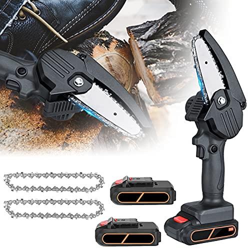 KKTECT Motosega a batteria,Mini Motoseghe,2 batterie & 2 Catena,4 pollici Sega elettrica portatile portatile per taglierina di legno del ramo di un albero