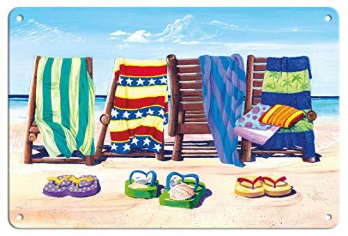 WOOOOL - Póster de pared con diseño de sandalias y sillas de playa y toallas de Scott Westmoreland, retro, estilo vintage, para decoración de bar, bar, bar, bar, bar, bar, bar, bar, 20 x 30 cm