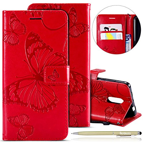 Herbests Kompatibel mit Leder Handy Schutzhülle Xiaomi Redmi Note 4 Lederhülle Schmetterling Muster Leder Handyhülle Handytasche Brieftasche Ledertasche Bookstyle Flip Case Cover Klapphülle,Rot