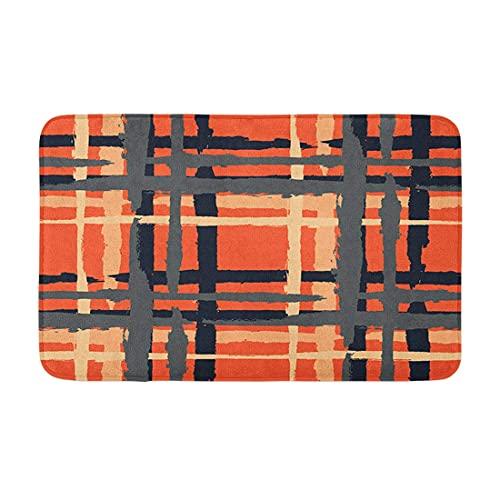 Plaid Grunge textura con pintado a mano cepillo de cruce trazos para imprimir piso esteras entrada camino bienvenida felpudos baño almohadilla para cocina baño 16 x 24 pulgadas
