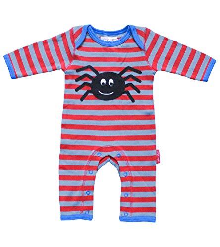 Toby Tiger 100% Organic Cotton Super Soft Spider appliqué Sleepsuit. Barboteuse, Rouge/Gris, 6-12 Mois Bébé Fille