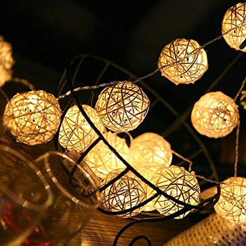 VIPMOON 40 LED Fairy Lights Rattan Ball String Lights, Waterproof IP44, 16FT/5M, USB Powered, 8 Lighting Modes for Wedding, Lawns, Christmas, Party, Patio and Home, Outdoor/Indoor Decoration